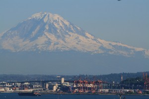 Mt Rainier over Port of Seattle